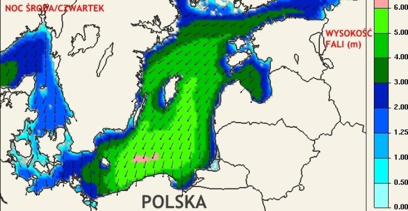Prognoza wysokości fali na Morzu Bałtyckim, noc środa/czwartek (ICM)