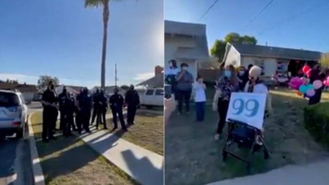 """Policjanci z San Diego zrobili niespodziankę 99-letniej mieszkance. Zaśpiewali jej """"Happy Birthday"""""""
