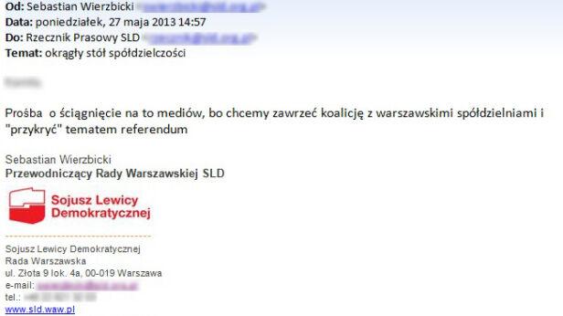Mail wysłany przez Sebastiana Wierzbickiego