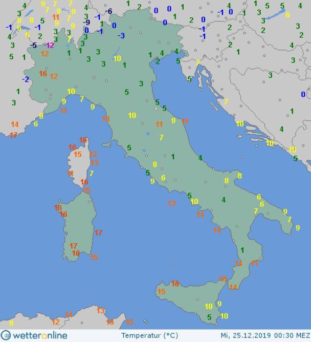 Temperatura we Włoszech o godzinie 0.30 25 grudnia 2019 roku (wetteronline.de)