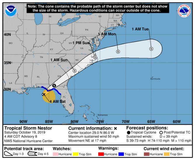 Prognozowana trasa przejścia burzy tropikalnej Nestor (NHC)