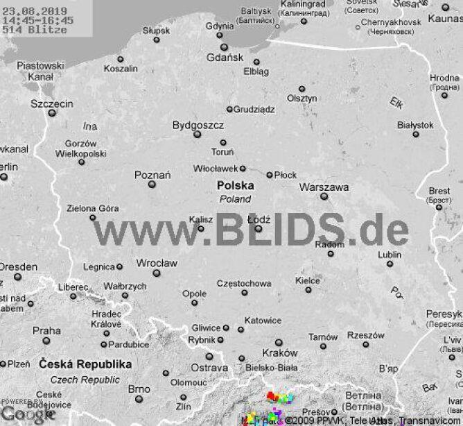 Ścieżka burz w godzinach 14.45-16.45 (blids.de)