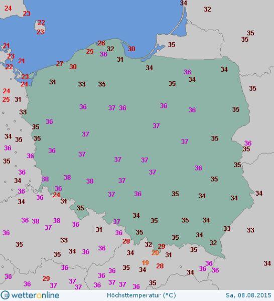 Temperatura maksymalna 8 sierpnia 2015 roku (wetteronline.de)