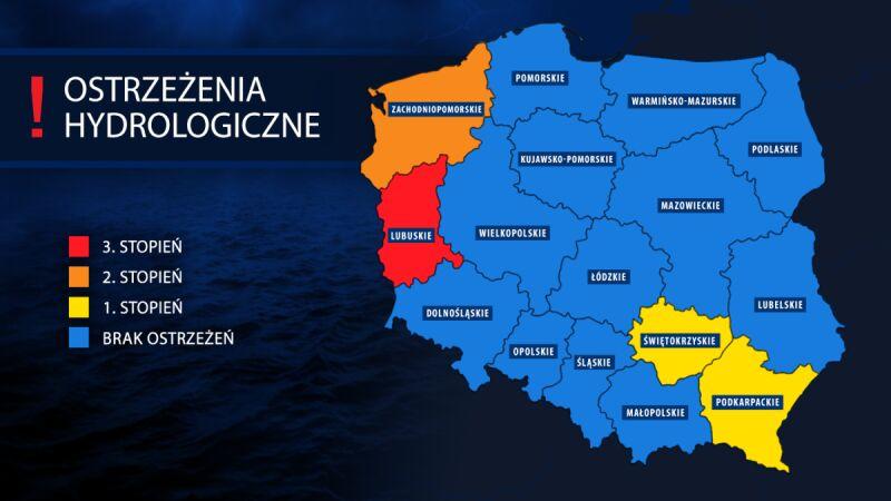 Ostrzeżenia hydrologiczne obowiązują w czterech województwach