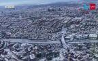 Zasypany śniegiem Madryt z lotu ptaka